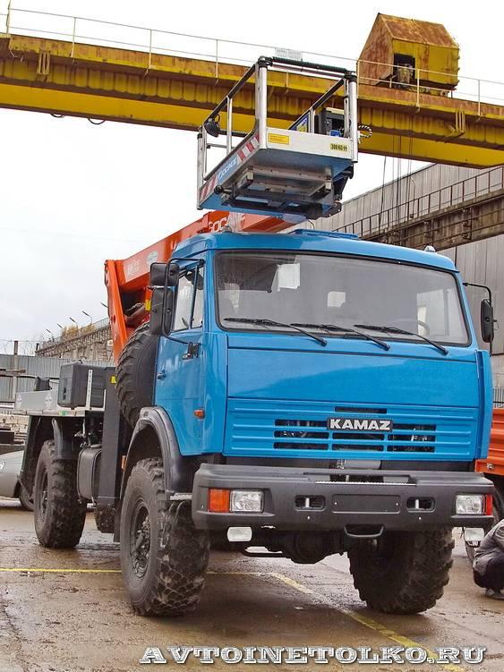 Новый автогидроподъемник Socage T 322 производства Чайка Сервис на шасси КамАЗ 4326