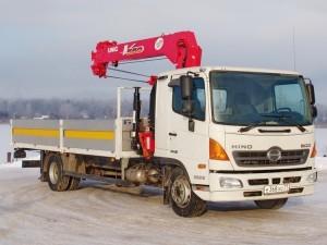 Бортовой грузовик Hino 500 GH с кузовом Рускомтранс и краном манипулятором Unic V 554