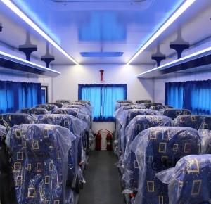 Вахтовый автобус Рускомтранс на шасси Scania салон