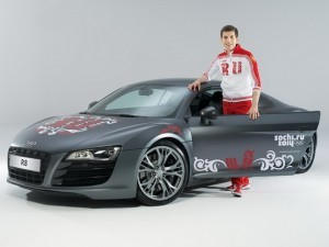 фотосессия олимпийского Audi R8 с участием Дмитрия Борисова
