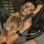 Девушки в камуфляже на Московском автомобильном салоне - 9