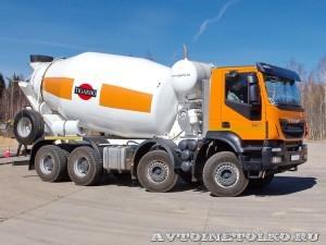 Автобетоносмеситель Tigarbo на шасси IVECO Trakker 8x4 на тест-драйве нового IVECO Trakker полигон НАМИ 2014 - 12