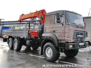 бортовой грузовик Урал 4320-80М с краном-манипулятором Инман ИТ-180 УралСпецТранс на выставке СТТ-2014 - 1