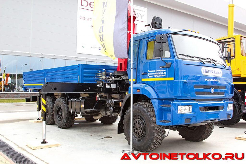 Краноманипуляторная установка Галичанин КМУ-150 на шасси КАМАЗ-43118 на выставке Демострой 2018