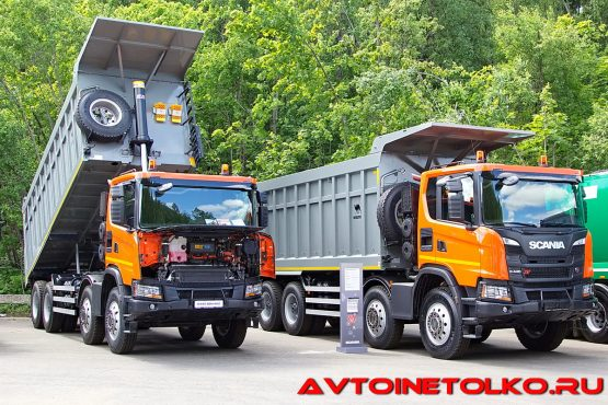 Карьерный самосвал Scania G440 B8x4HZ с кузовом Wielton на презентации в Дмитрове